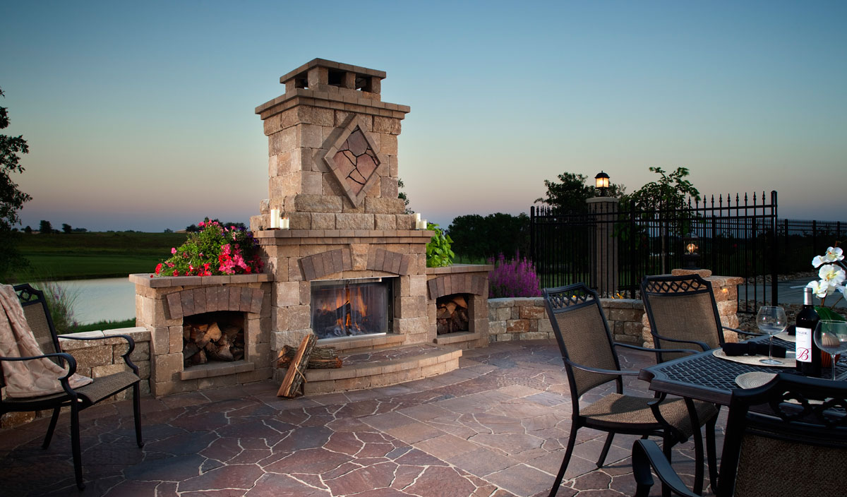 Belgard Fireplace with Fireboxes